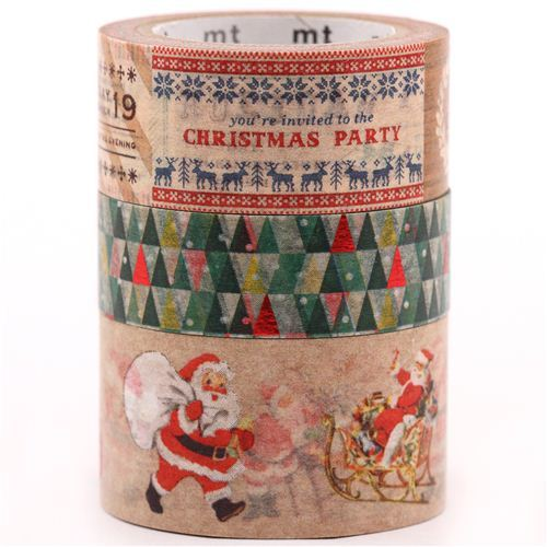 Christmas mt Masking Tape deco tape set 3pcs Santa Claus Christmas Party