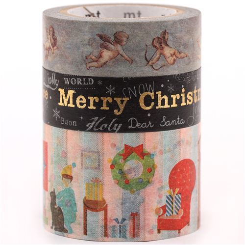 Christmas mt Masking Tape deco tape set 3pcs angels Merry Christmas