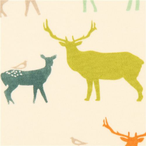 colourful deer stag animal organic knit fabric birch USA