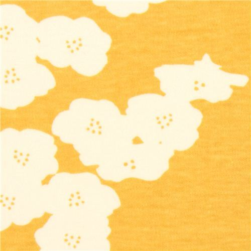 yellow poppy flower organic knit fabric birch USA