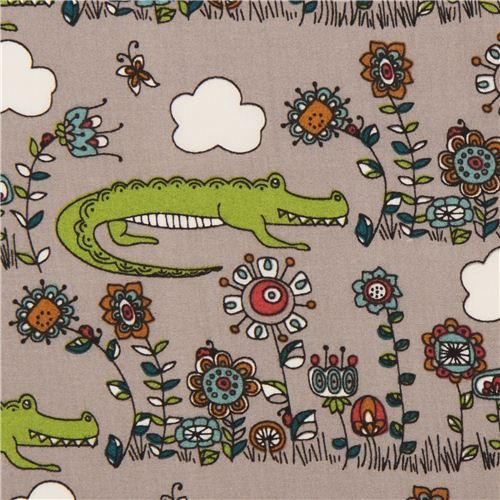 grey crocodile & flower animal organic fabric birch USA 'Lurking'