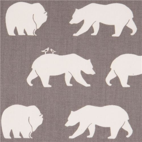 grey 'Bear Hike' bears birch poplin organic fabric USA