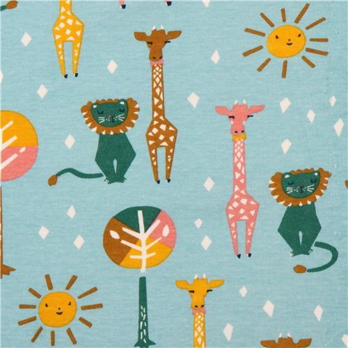 sky blue 'Happy Pals' lion & giraffe animal birch knit organic fabric USA