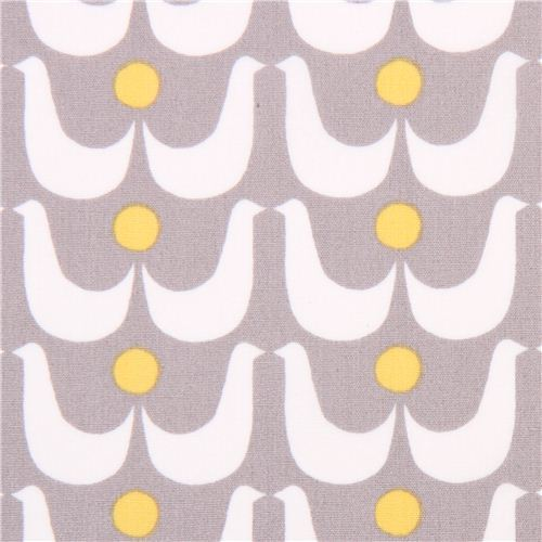 grey monaluna geo birds organic fabric birdies