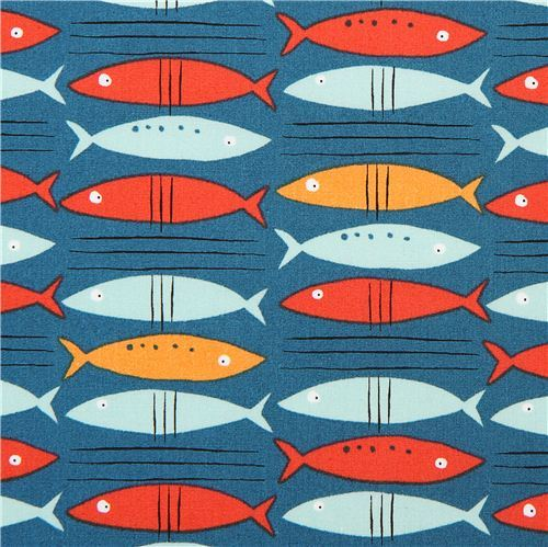 teal monaluna fish organic fabric go fish