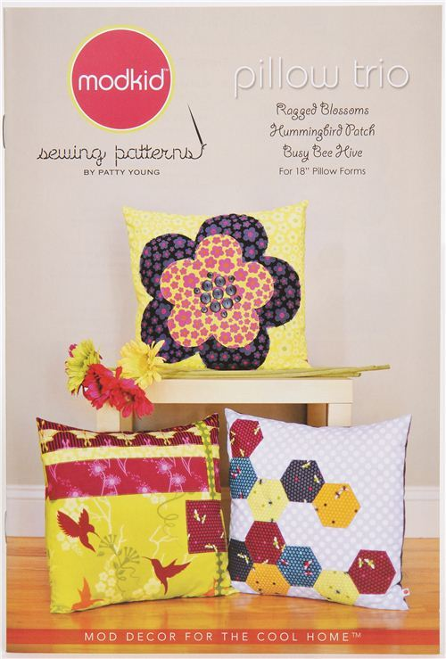 Modkid pillow sewing pattern pillow trio from the USA