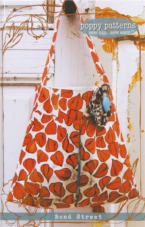 sewing pattern for handbag and tote bag with flower pin