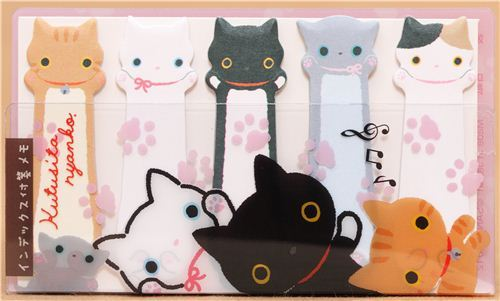 colourful Kutusita Nyanko cat Post-it bookmark sticker
