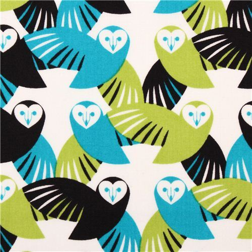Cloud 9 animal owl organic fabric green Lechuza Mixteca