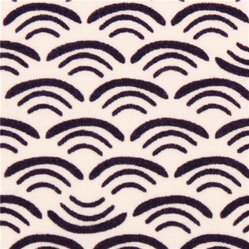 wave smile pattern Cloud 9 organic fabric plum Koi