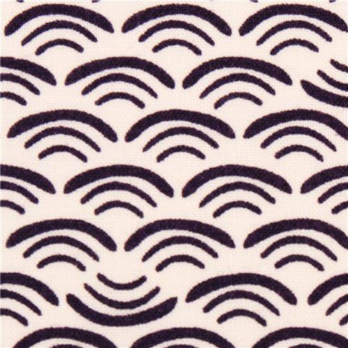 wave smile pattern Cloud 9 organic fabric plum Koi