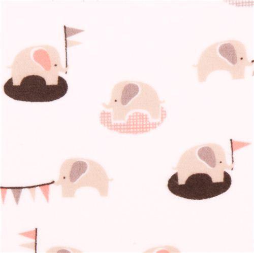 white Cloud 9 elephant organic flannel fabric Ele-fete