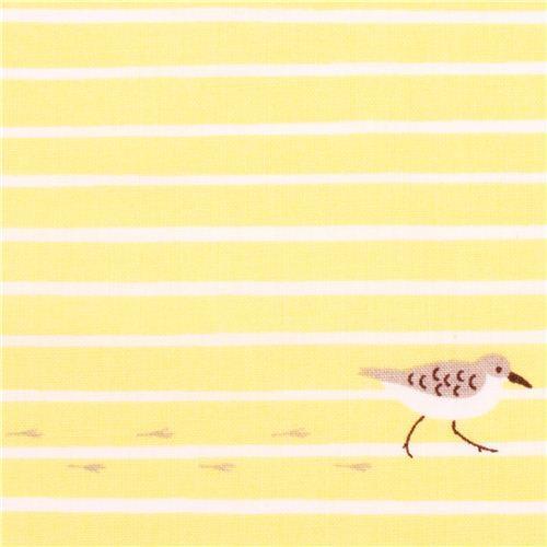 yellow Cloud 9 bird stripe sand organic fabric Sandpiper