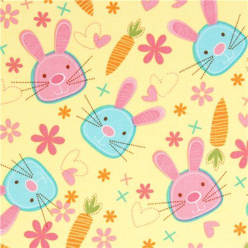 Michael Miller fabric Snack Bunny with rabbit & carrot