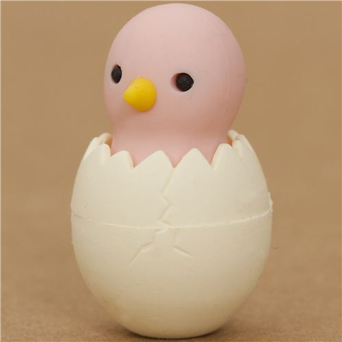 pale pink chick in egg eraser by Iwako from Japan