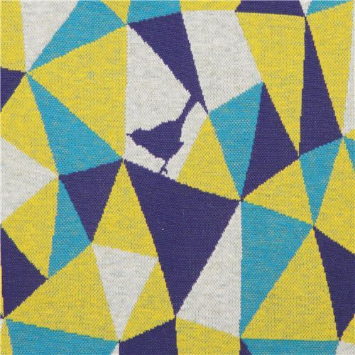 yellow- turquoise triangle geo bird Jacquard echino fabric
