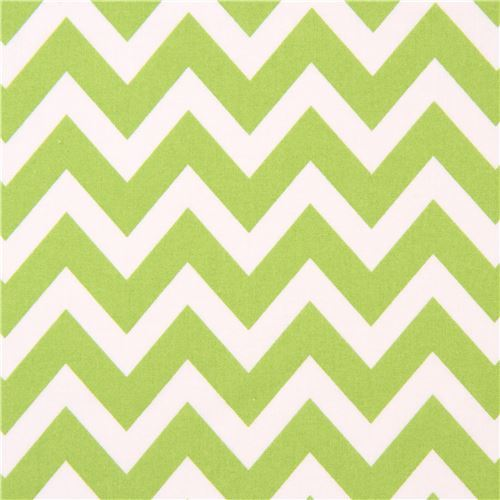 Robert Kaufman zig zag chevron fabric green-white Remix