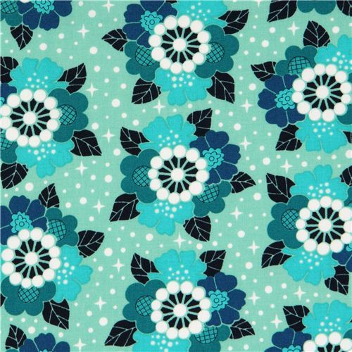 mint and teal flower bouquet star fabric Rhoda Ruth by Robert Kaufman USA