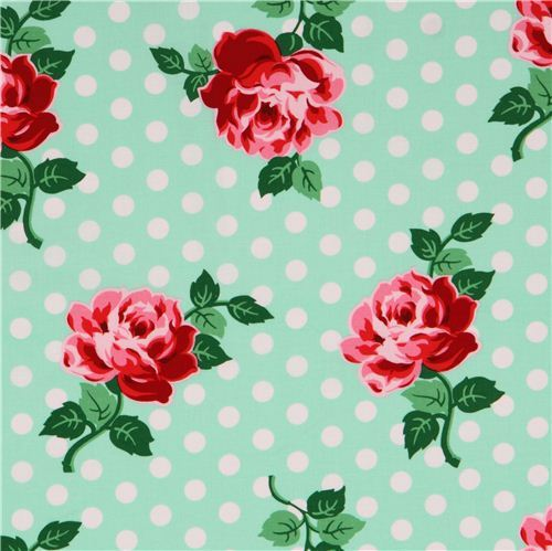 mint green rose dot retro flower fabric Lucy by Michael Miller USA