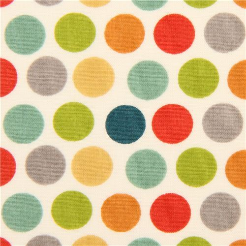 colorful polka dots organic knit fabric birch USA