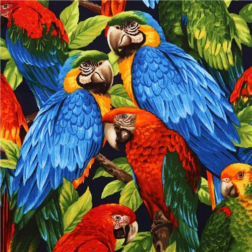 colourful tropical bird fabric parrot Robert Kaufman
