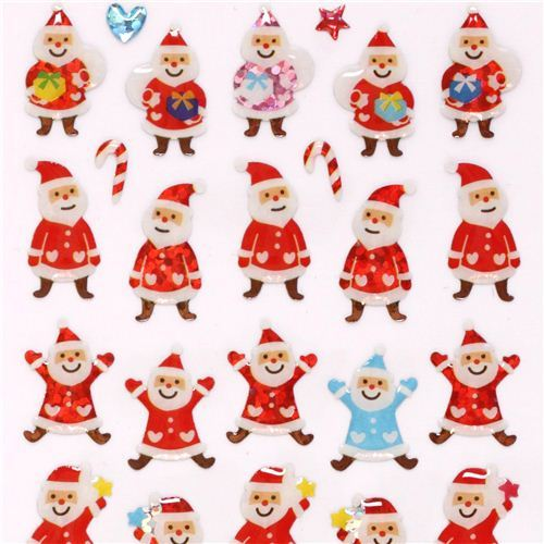 cute colorful Christmas Santa Claus glitter stickers from Japan