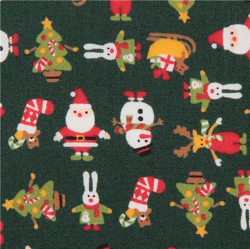 dark green cute Christmas santa reindeer snowman fabric