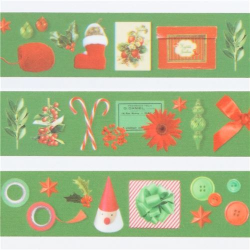 mt Washi Masking Tape green with candy cane deco tape Merry Christmas