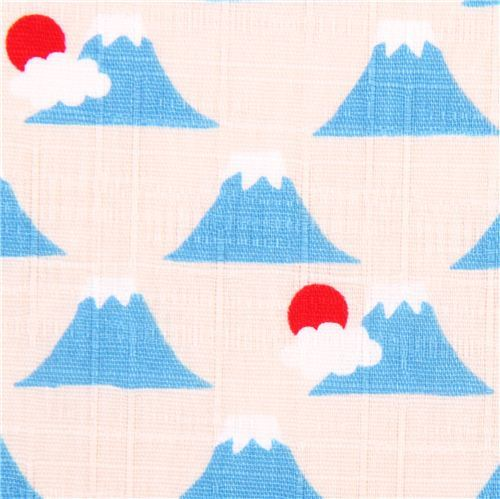 white-grey structured mountain Mt Fuji fabric Cosmo Japan