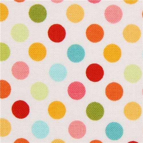 white Riley Blake polka dot fabric from the USA