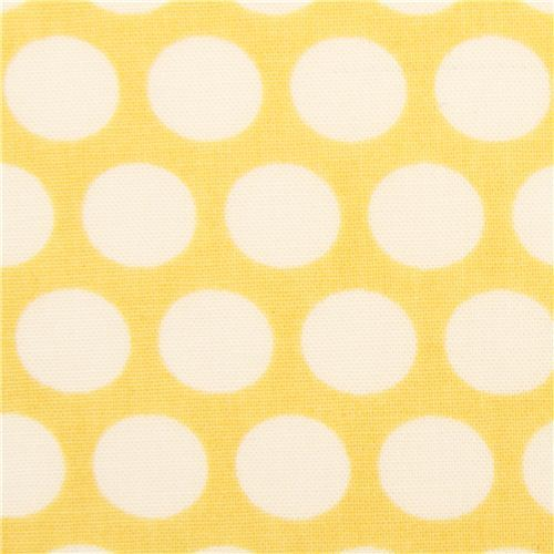 yellow birch organic fabric from the USA with white dots
