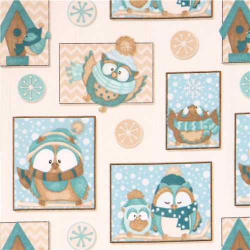 cream colored kawaii snow owl winter animals square flannel fabric