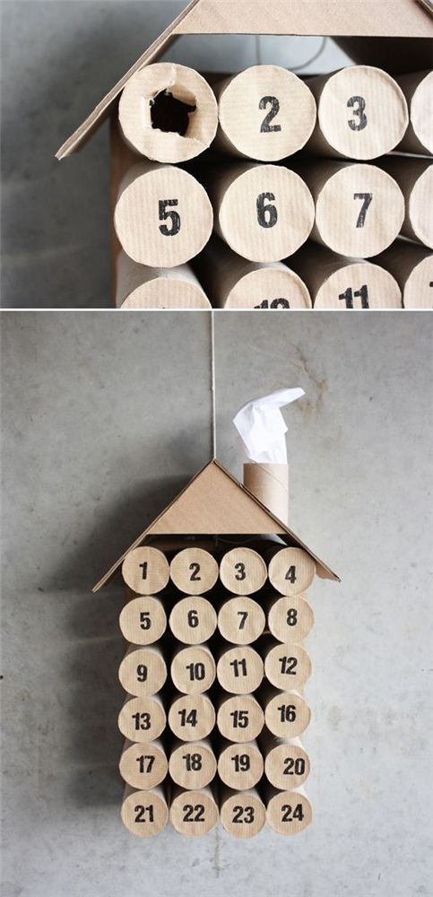 Fun toilet paper advent calendar house by indulgy.com