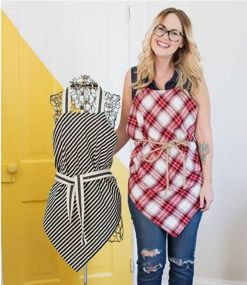 Here are sewn and no-sew aprons by abeautifulmess.com