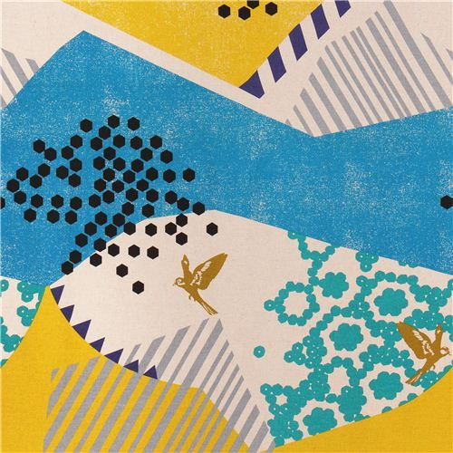 echino landscape canvas laminate fabric blue-yellow Japan bird mountain