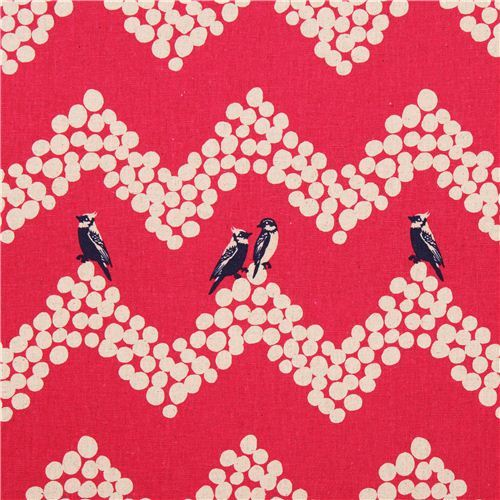 hot pink echino parakeet canvas laminate fabric bird parakeet Chevron pattern