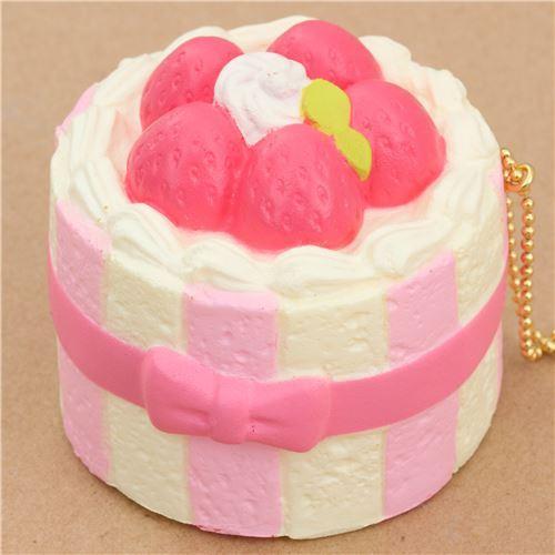 Premium Cafe de N light cream color pink charlotte cake squishy charm kawaii