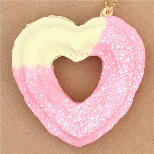 cute cream color pink heart shape churro white dusting squishy charm kawaii