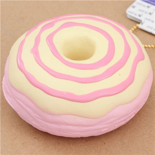 cute pink donut cream color pink icing squishy charm kawaii