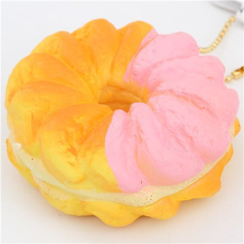 cute pink orange-yellow French cruller light yellow filling squishy charm kawaii