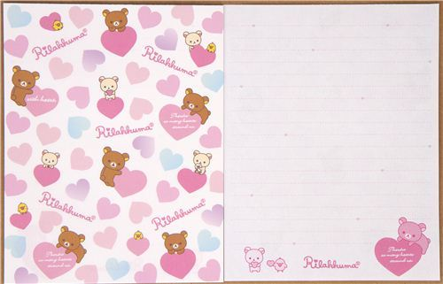 Rilakkuma bear Letter Set with colourful hearts by San-X