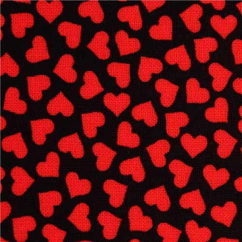 black mini hearts fabric by Robert Kaufman from the USA