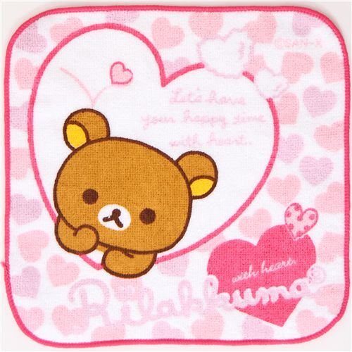 cute Rilakkuma bear towel with hearts