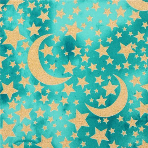 turquoise-sea green Moon and Stars glitter fabric Michael Miller USA