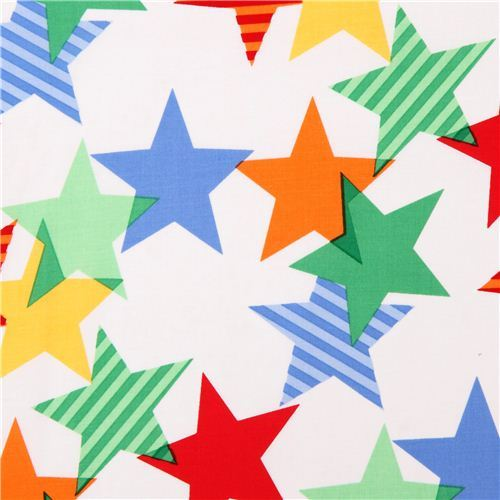 white stars fabric 'Stars-A-Lined' Primary by Michael Miller USA