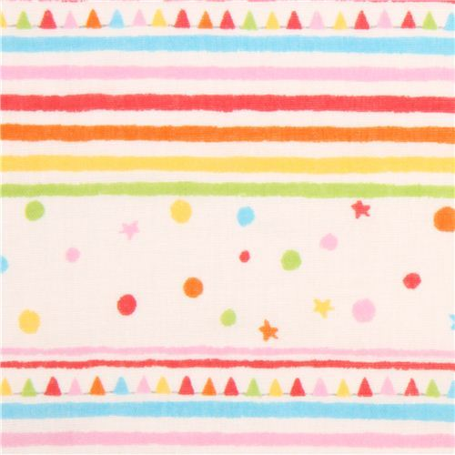 cream color double gauze colorful stripes shapes Kokka fabric