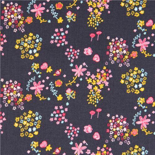 dark grey-purple cute flower fabric by Kokka