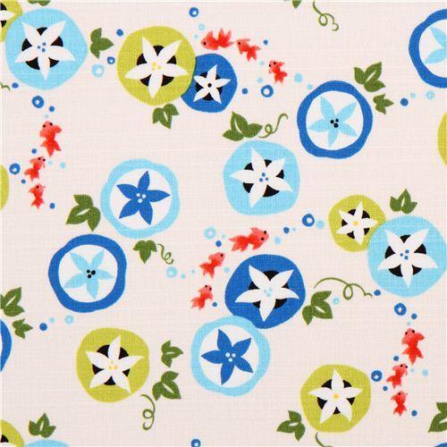 light cream structured Asia flower leaf fish Kokka Dobby fabric
