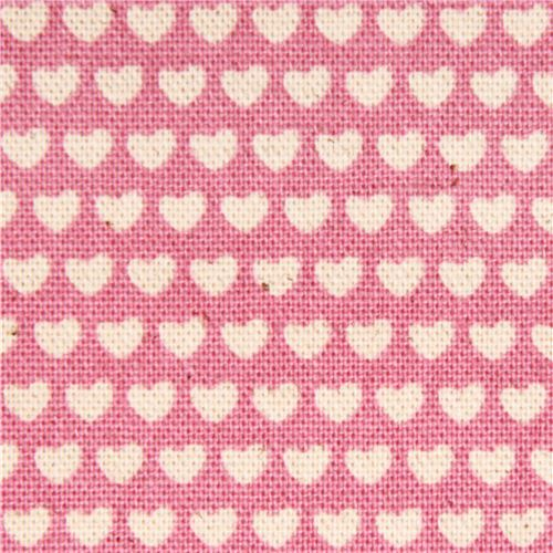 pink mini heart Canvas fabric Kokka Japan