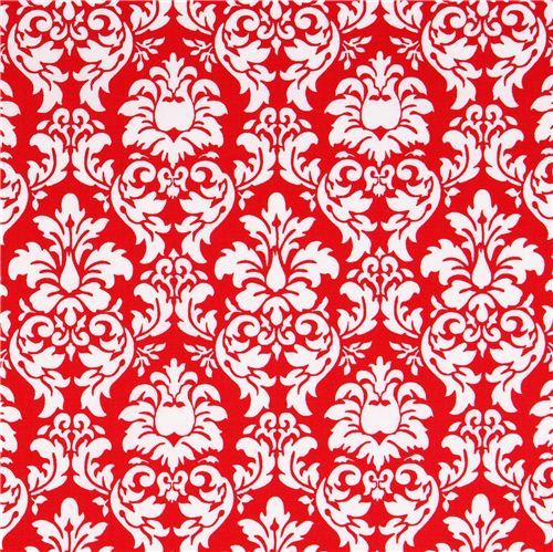 red Petite Dandy Damask ornament fabric Michael Miller Petite Paris